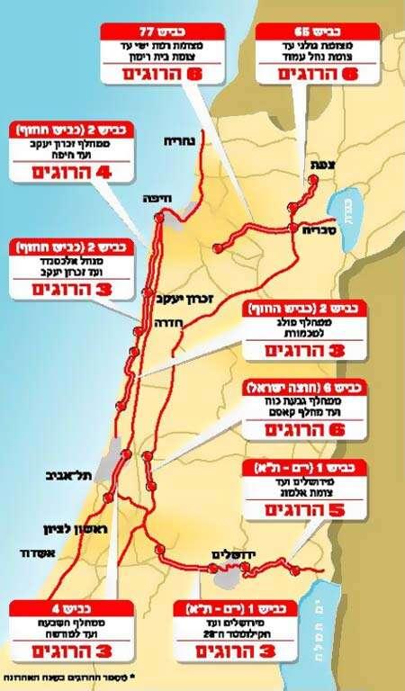 מעולה חדשות NRG - מפת הכבישים 'האדומים' בישראל QZ-39